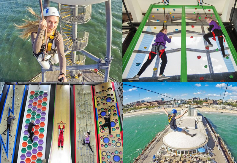 Summer Holiday fun activities at RockReef on Bournemouth Pier, climbing, zip wire